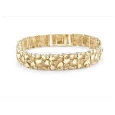 "7 3/4"" - 8"" 14k Gold Men's Nugget Bracelet ~ 29.8 Grams"