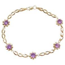 """7"""" 10k Gold Amethyst Flower Bracelet"""
