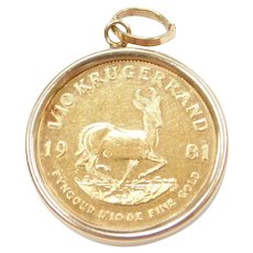 1981 1/10 Krugerrand South African 22k Gold Coin Pendant in 14k Gold Bezel