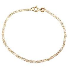 "6 3/4"" 14k Gold Two-Tone Figaro Link Bracelet"