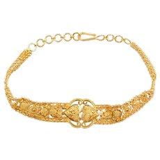 """7 1/4"""" - 8 1/4"""" 22k Gold Bead Heart Bracelet"""