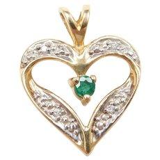 14k Gold Natural Emerald and Diamond Heart Pendant