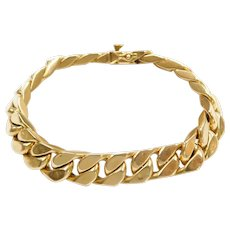 "8"" 18k Gold Curb Link Bracelet ~ 32.5 Grams"