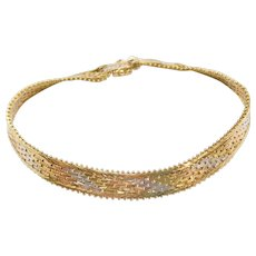 """7 5/8"""" 18k Gold Tri-Color Bracelet"""