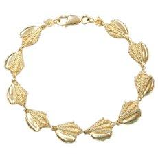 """7 1/4"""" 14k Gold Nautical Shell Bracelet"""