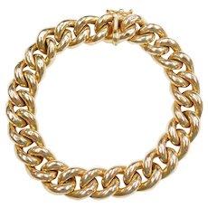 """6 3/4"""" 14k Gold Hollow Curb Link Bracelet"""