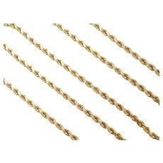 "20 1/4"" 14k Gold Diamond Cut Rope Chain ~ 14.4 Grams"