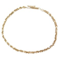 "7"" 14k Gold Diamond Cut Rope Bracelet"