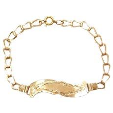 "7 1/2"" 18k Gold ID Bracelet"