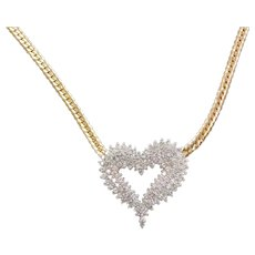 """1.50 ctw Diamond Heart Necklace 17"""" 14k Gold Two-Tone"""