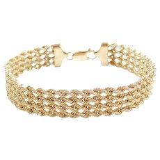 "7 1/4"" 10k Gold 4-Strand Rope Bracelet"
