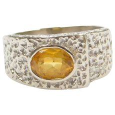14k White Gold Yellow Sapphire Ring