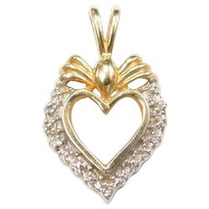 14k Gold Two-Tone Diamond Heart Pendant