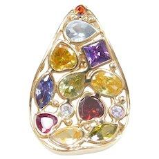 14k Gold Colorful Garnet Gemstone Pendant