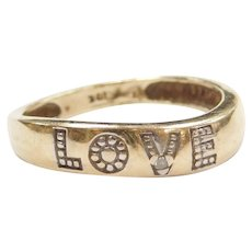 10k Gold Two-Tone LOVE Ring with Diamond Accent