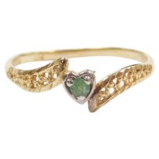 10k Gold Two-Tone Natural Emerald Heart Ring