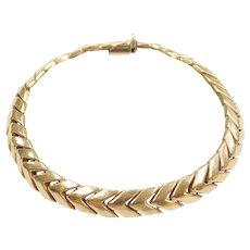 "7 3/8"" 14k Gold Chevron Bracelet"