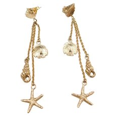 14k Gold Nautical Shell, Sand Dollar, Starfish Long Dangle Earrings