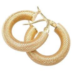 14k Gold Textured Hoop Earrings