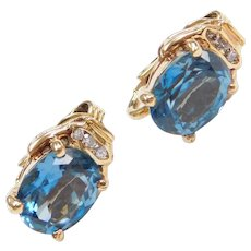 14k Gold Blue Topaz and Diamond Clip On Earrings