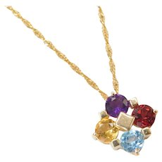 "18"" 14k Gold Amethyst, Garnet, Blue Topaz and Citrine Necklace"