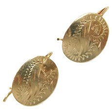 Vintage Engraved Oval Drop Earrings 14k Gold