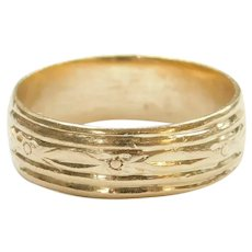 Vintage Gents Floral Wedding Band Ring 14k Gold ~ Men's