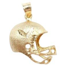 Football Helmet Sports Charm / Pendant 14k Gold