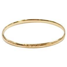 """7 1/2"""" 14k Gold Etched Hinged Bangle Bracelet"""