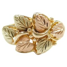 Leaf and Berries Ring 10k Yellow and Rose Gold Two-Tone