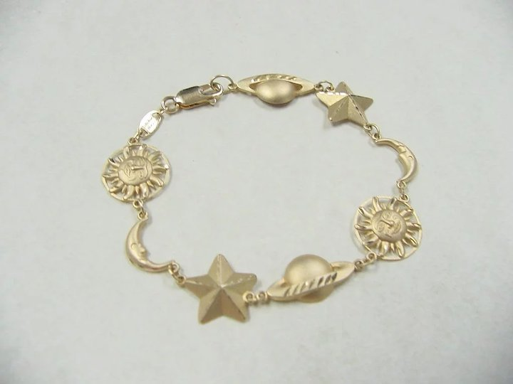 Vintage 14k Gold Star Sun Moon And Planet Bracelet 6 7 8