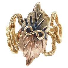Leaf Ring 10k Gold Tri-Color