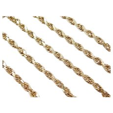 "25 1/2"" Long 10k Gold Solid Diamond Cut Rope Chain ~ 35.7 Grams"