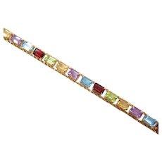 """7"""" 10k Gold Colorful Gemstone Rope Design Bracelet"""