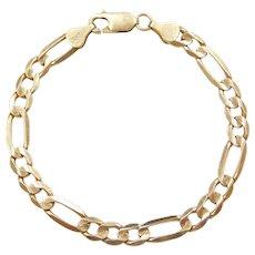 """7 1/4"""" 10k Gold Figaro Link Bracelet"""