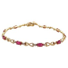 """7"""" 10k Gold Natural Ruby and Diamond Bracelet Two-Tone"""