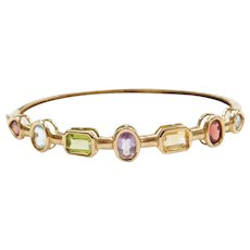 10k Gold Colorful Gemstone Hinged Bangle Bracelet