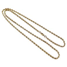 "Solid Rope Link Chain Necklace 10K Gold 10.5 Grams, 18-5/8"" Length"