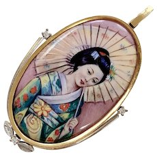 Japanese Portrait Painting Pendant 18K Gold & Diamond