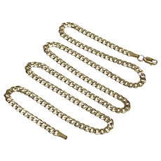 "Curb Link Chain Necklace 14K Gold 23"" Length 13.3 Grams"