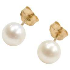 14k Gold Cultured Pearl Stud Earrings