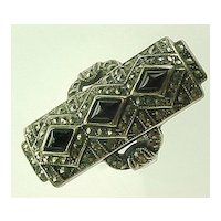 Art Deco Sterling Silver Marcasite & Onyx Ring ELONGATED size 6