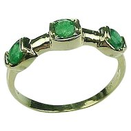 Genuine Natural Emerald 3 Stone Band 14k Yellow Gold