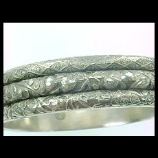 Ornate Triple Row Engraved Sterling Hinged Bangle ART NOUVEAU