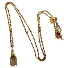 Victorian 14k Gold Chain Necklace w/ Tassels & Slide Pendant, Watch or Muff Guard