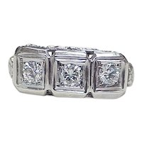 Art Deco Ring Three DIAMOND .75 ctw 14k White Gold