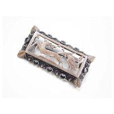 Georgian 8k Rose Gold & Silver Brooch DEER Marcasite Accents