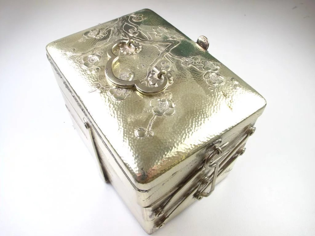 Rare Antique Sterling Silver 3 Tiered Traveling Jewelry