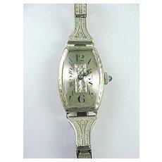 Art Deco Ladies Watch 14k White Gold