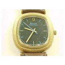 Vintage Bulova Accutron 14k Gold Mens Wrist Watch